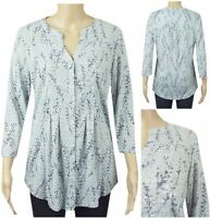 New Ex M&S Blue Floral 3/4 Sleeve Jersey Casual Tunic Top Size 10 - 24 Pale Blue