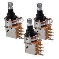 B500K Push Pull Guitar Control Pot Potentiometer Chrome Tone Switch Set of 3