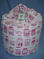"""Large Beanbag~ """"Sweet Jars Pink"""" ~ Filled And With Inner Liner ~ FREE P&P (C3)"""