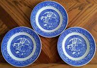 "Vintage ROYAL China USA BLUE WILLOW WARE 3 PC SET/Lot  Salad Plates  7 1/4""  EXC"