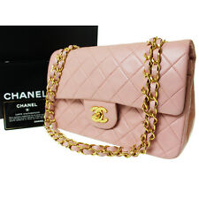 CHANEL Matelasse Double Flap Shoulder Bag Pink Leather Vintage Auth #8258 W