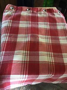 """Pair Red Tartan Plaid Checked Curtains W60"""" X D90"""""""
