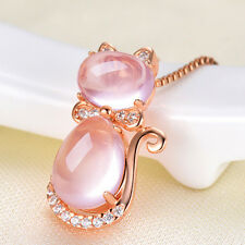 Crystal Rhinestone Opal Stone Cat Pendant Without Chain Jewelry For Women Gril