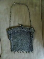 """Vintage Chain Mail Metal Alloy Mesh Purse With Chain and Clasp 5 1/2"""""""