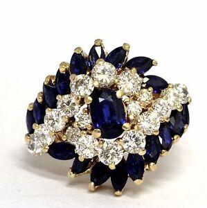 14k yellow gold 1.10ct SI1 H diamond sapphire gemstone ring 6.9g cocktail estate