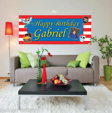 5ft Giant Red Stripe PIRATE Personalised Birthday Plastic Sign Banner Decoration