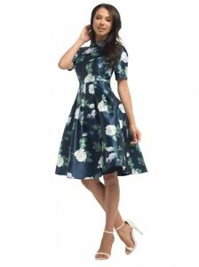 Chi Chi London Floral Rose Elsie Button Up Collar Evening Occasion Dress BNWT
