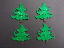 4 Christmas tree glitter felt die cuts. Embellishments, Card Topper, wreath