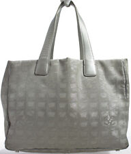 CHANEL Travel Line Bag Tasche SILBER Canvas with SILVER Leather Tote Hand Bag