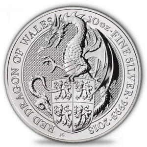 "10 oz Silbermünze The Queen´s Beasts 2018 ""Red Dragon of Wales"""