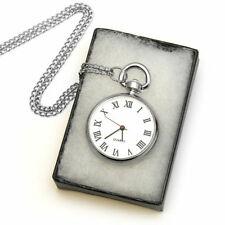 Open Face Stainless Steel Pocket Watches with Roman Numerals