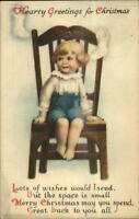 Christmas - Unsigned Clapsaddle - Little Boy in Chair c1915 Postcard