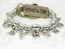 "Silver Plated Metal Brown Leather Bracelet Uno de 50 ""Wild Bush� Crystal"