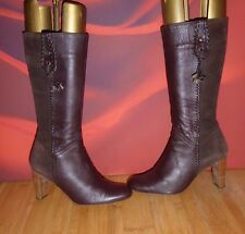 *4* Superb NEXT Brown leather  suede mid calf heel boots UK 5 EU 38
