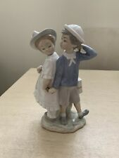 "Lladro Porcelain Figurine #1127 ""Puppy Love"", Boy & Girl Couple Holding Hands"