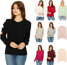 Womens Cut Out Cold Shoulder Jumper Ladies Long Sleeve Stretch Knit Round Neck