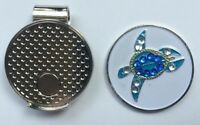 NEW Crystal Sea Turtle Golf Ball Marker + Free Magnetic Hat Clip