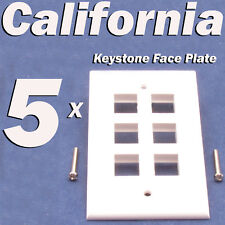 5 X Faceplate 6 Port Keystone Jack RJ45 CAT5 CAT5e CAT6 Network Wall Plate White