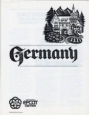 GERMANY: EPCOT Walt Disney World 1982 Information Packet.