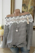 Carmen Blouse Black White Checked Crochet Lace 34-38 Valance Sleeves Tunic