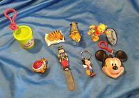 Vintage Toy Key Chain Lot Pooh Bear Mickey Garfield PlayDoh Plastic Cheese Knife