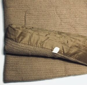 """Vtg Acrylic Waffle Weave Thermal Blanket Brown With Satin Trim 76""""x88"""""""