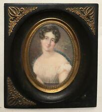Miniature ancienne, Portrait de femme, Cadre en ébène? XIXe