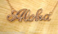34mm 14k Rose Gold Over Solid Silver Hawaiian Hand Engraved Aloha Necklace 17""