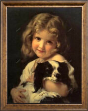 Old Master Art Portrait of Baby Girl with Dog Animal Oil Painting Unframed 24x30
