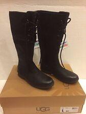 UGG Ladies W ELSA TALL BLACK LEATHER Boots Size US 5 UK 3.5 1008438 W $250.00