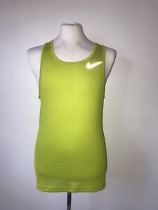 NIKE RUNNING DRY FIT SZ S/M GREEN STRETCH REFLECTOR FLASH VEST QUICK DRY