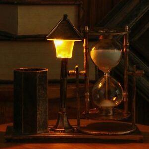 Pen Holder Street Lamp Decoration Hourglass Home Desk Office Decor Organizer