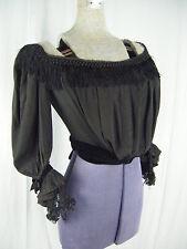 1890s Antique Black Crepe Basque Bodice w/Velvet bows/Lace Cuffs-Bust 36/Xxs-Xs