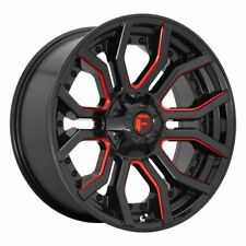Four (4) 20x10 Fuel Rage ET -18 Black Red 8x180 Wheels Rims