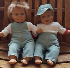 "2 Vintage Berenguer Baby Dolls 12"" soft body coveralls Collectors set"