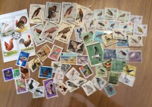 Small Collection Of  60 Worldwide Thematic Stamps - Birds.