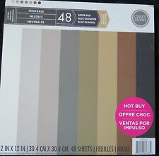 Craft Smith Neutrals 12x12 Textured Heavy Weight Cardstock Paper Pack 48 Sheets