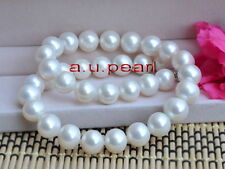 """AAAAA 17""""11-12mm perfect round REAL natural south sea white pearl necklace 14K"""