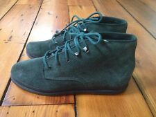 Vintage Keds Forest Green Suede Leather Lace Up Womens Booties Ankle Boots 6 36