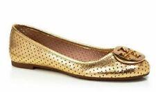Tory Burch Women's Reva Perforated Metallic Logo Ballet Flats Gold Size 5.5 M