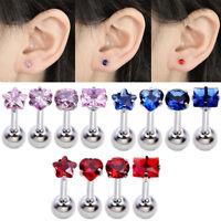 4 Pcs Stainless Steel Body Piercing StarTragus Helix Cartilage Ear Stud Earrings