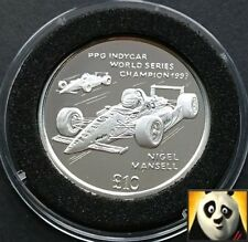1994 ISLE OF MAN RARE £10 Ten Pound Silver Proof Coin F1 Nigel Mansell Indycar