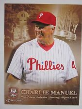 "Charlie Manuel Philadelphia Phillies 8/9/14 Wall of Fame Poster 9"" x 12"" Mint"