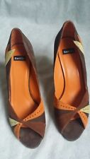 Ladies BERTIE Chocolate Yellow Orange Suede Peep Toe Heel Court Shoe UK 6 EU 39
