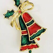 Christmas Bells Brooch Vintage Enamel Beatrix Rhinestone Gold Tone Pin