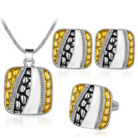 Yellow Grey Square Jewellery Set Earrings Adjustable Ring Necklace Pendant S965