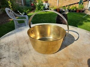 Antique Brass Jam Pan, Cooking Pot with Iron Handle (Possibly Victorian)