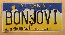 "ALASKA  VANITY License Plate "" BONJOVI "" JON BON JOVI NEW JERSEY MUSIC BAND"