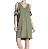 Sanctuary Lakeside T-Shirt Dress Womens Size Large Green V Neck Cold Shoulder