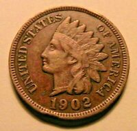 1902 Indian Head Penny Cent Ch EF Original Brown Tone One Small Cent USA Coin